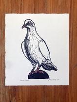 "Linocut Print ""White Dove"""