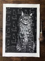 "Linocut Print ""Tabby"""