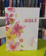 Bible du Semeur 2015 , blanche avec dessin fleurs , couverture textile