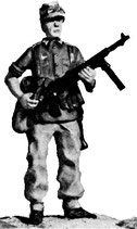 MOD S-54 standing with machine pistol at ready, in soft cap