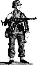 MOD S-55 astride, machine pistol slung, in helmet