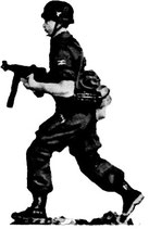 MOD S-74 advancing with machine pistol