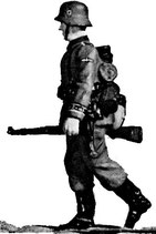 MOD S-52 walking, rifle at trail, in helmet