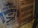 """meuble bois """"barber shop"""" 1,20m X h 0,90m prof 0,50m"""
