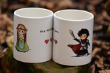 "Tassen-Set mit Pixelmotiv ""His princess and her hero"""