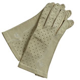 Handschuhe Leder hell beige VINTAGE gelocht ungefüttert Gr. S