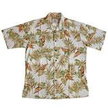 Hemd Herren Hawaiihemd VINTAGE hell Blätter Gr. S