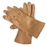 Handschuhe Leder hell camel Seidenfutter VINTAGE Gr. S
