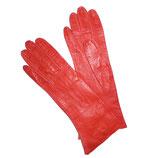 Handschuhe Leder rot Glacéleder VINTAGE 50s XS