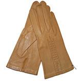 Handschuhe Leder braun beige ungefüttert VINTAGE 1950s Gr. XS