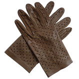 Handschuhe Leder braun mittelbraun ungefüttert VINTAGE gelocht Gr. L