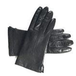 Handschuhe Leder schwarz gefüttert Fell VINTAGE Gr. S/M