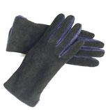 Handschuhe Leder schwarz gefüttert Velours mit blau S/M