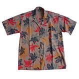 Hemd Herren Hawaiihemd VINTAGE braun Blätter Gr. S