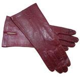 Handschuhe Leder rot bordeaux Seidenfutter VINTAGE Gr. S