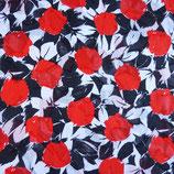 Stoff Baumwolle Scherli weiss-rot-schwarz Rosen, ca. 1980s 1.55 m
