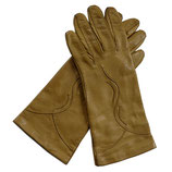 Handschuhe Leder braun Seidenfutter caramel VINTAGE Gr. S/M