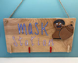 Wall-art 'Mask Station' with 4 Clothes pegs
