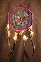 Traumfänger Oktagon mit Holzperlen, 22cm Ø