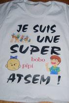 """Tee-shirt femme imprimé """"je suis une super ATSEM"""""""