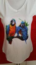 """Tee-shirt femme col V imprimé """"Perroquets"""""""