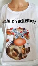 """Tee-shirt femme humoristique imprimé """"j't'aime vachement """""""