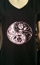 Tee-shirt femme imprimé Yin et Yang rose