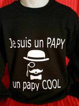 """Sweat humoristique imprimé """"je suis un papy, un papy cool"""""""