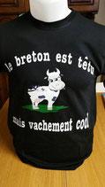 """Tee-shirt humoristique imprimé """"le breton est têtu mais vachement cool"""""""