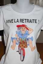 """Tee-shirt femme retraite imprimé """"Vive la retraite !'"""