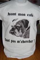 """Tee-shirt humoristique imprimé """"avant mon café faut pas m'chercher'"""