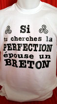 "Tee-shirt humoristique imprimé ""si tu cherches la perfection, épouse un breton"""