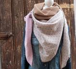 FAYE / XXL Wickelschal / Waffelpique / mini Anker / rosa, beige & helles taupe