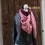 FAYE / XXL Wickelschal / Waffelpique / Federn / dunkles rosa, grau & weinrot