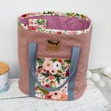Page  *~*  Projekttasche big  / pale pink mit Blumen