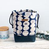 Prue  *~* small ~ Projekttasche / Kreise / dunkelblau & creme
