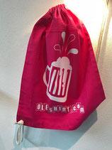 """Beutel """"oleshirt"""" - pink mit Bierkrug (weiß)"""