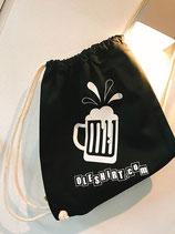 """Beutel """"oleshirt"""" delücks - schwarz mit Bierkrug (weiß)"""