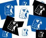 Stickerpaket Kopf Blau Weiß Schwarz