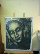 GR-B-0105-300  Kohlezeichnung Frauenportrait