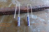 Boucles d'oreille longues minimalistes en argent et lapis-lazuli