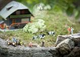Postkarte SW-Miniatur Familienurlaub