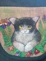 Sac noir lin et coton, chat réalisé en laine feutrée fait main