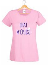 T-shirt femme jeux de chat m'epuise