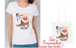 Offrir tee shirt et sac femme personnalisé texte BD