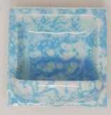 Seifenschale  2. Wahl  15x15 hellblau/weiß meliert glänzend Nr.177