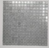 Soft Glas Glitter auf Netz  2x2cm Silber