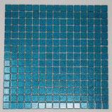 Soft Glas Glitter auf Netz  2x2cm Türkis