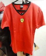 Ferrari Damen T-Shirt mit V Ausschnitt Rot
