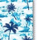 100% Baumwolle Popeline, Palmen in blau mit Batik  Breite 145 cm